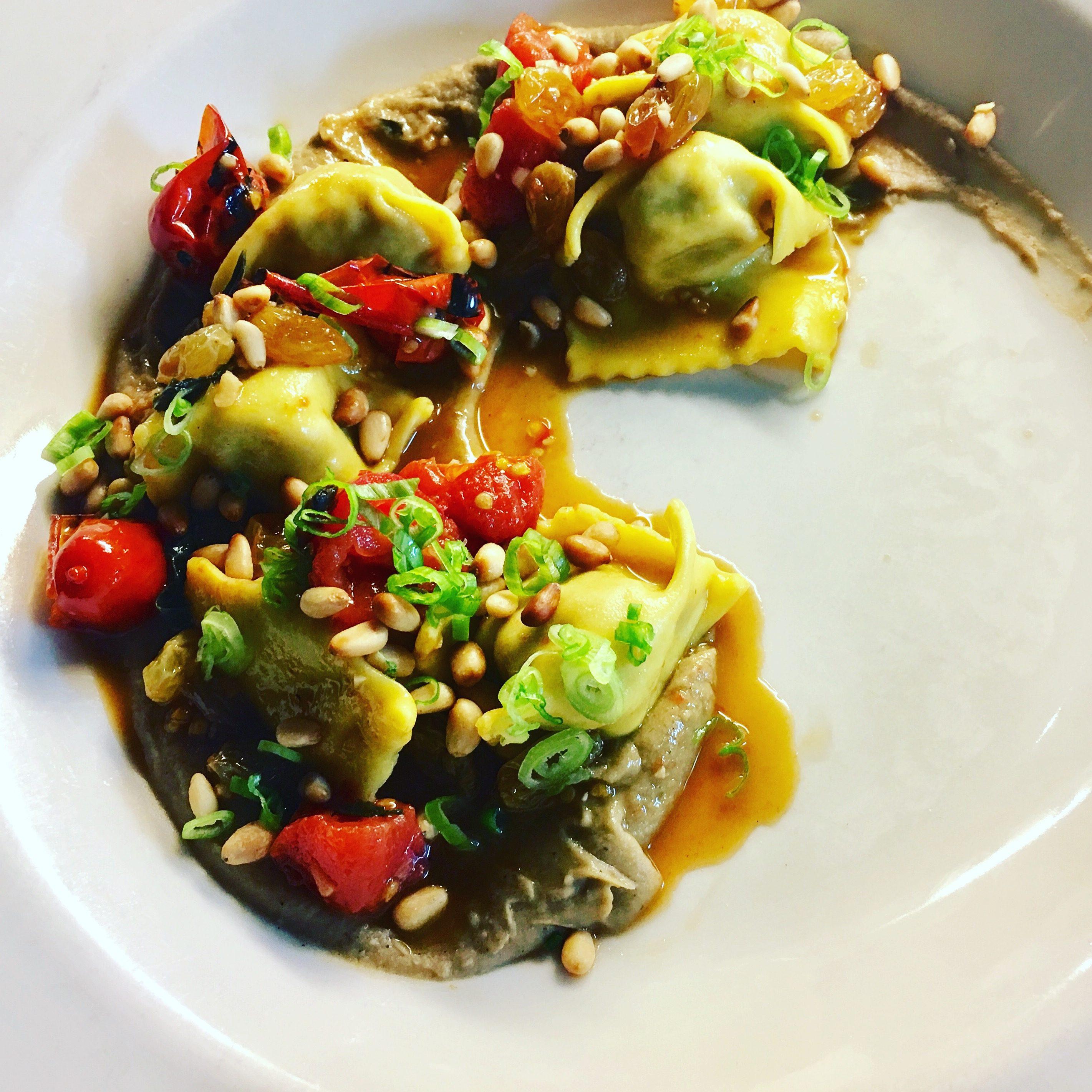 Lamb Agnolotti, Eggplant, Pine Nuts